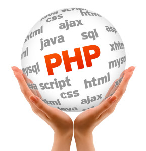 Hands holding a Hypertext Preprocessor Word Sphere on white background.